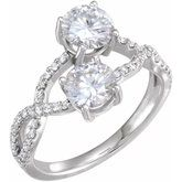 Charles & Colvard Moissanite® & Diamond Accented Two-Stone Ring