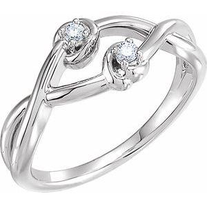 14K White .06 CTW Diamond Double Knot Ring