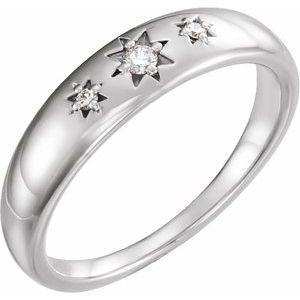 14K White .05 CTW Diamond Starburst Ring