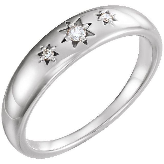 Sterling Silver .05 CTW Diamond Starburst Ring