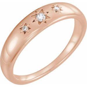 14K Rose .05 CTW Diamond Starburst Ring