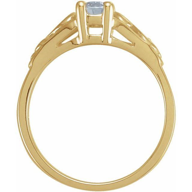 14K Yellow April Youth Imitation Birthstone Ring
