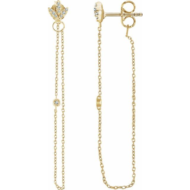 14K Yellow .08 CTW Diamond Chain Earrings