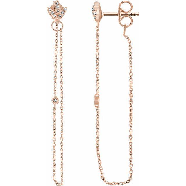 14K Rose .08 CTW Diamond Chain Earrings