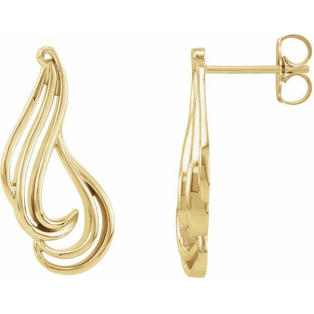 14K Yellow Freeform Earrings