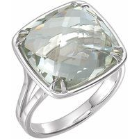 14 mm Double Sided Checkerboard Green Quartz Ring