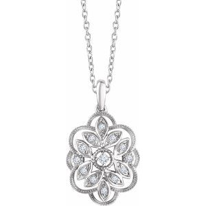 "Sterling Silver 1/6 CTW Diamond 16-18"" Necklace"