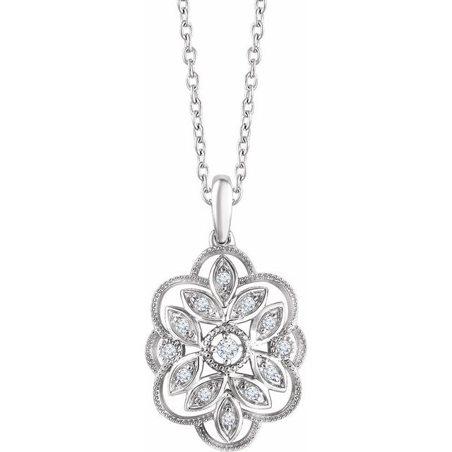 Sterling Silver 1/6 CTW Diamond 16-18