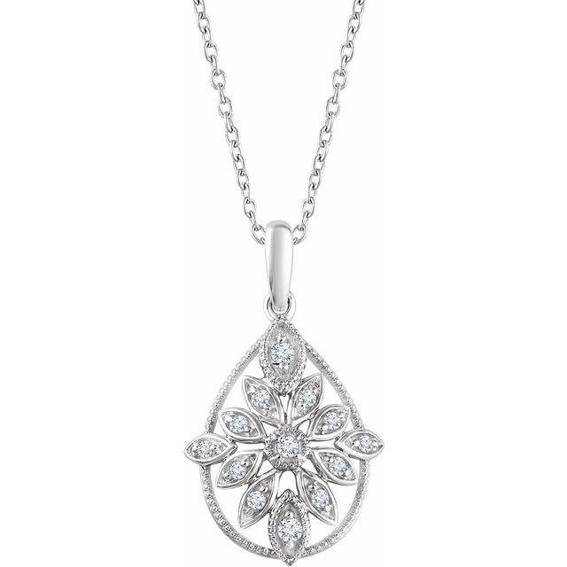 14K White 1/6 CTW Diamond Granulated Filigree 18