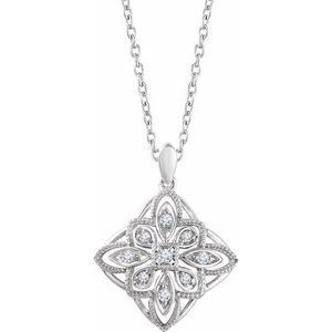 "Sterling Silver 1/10 CTW Diamond Granulated Filigree 18"" Necklace"