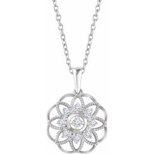 "Sterling Silver 1/5 CTW Diamond Granulated Filigree 18"" Necklace"