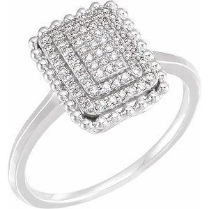 14K White 1/5 CTW Diamond Rectangle Cluster Ring