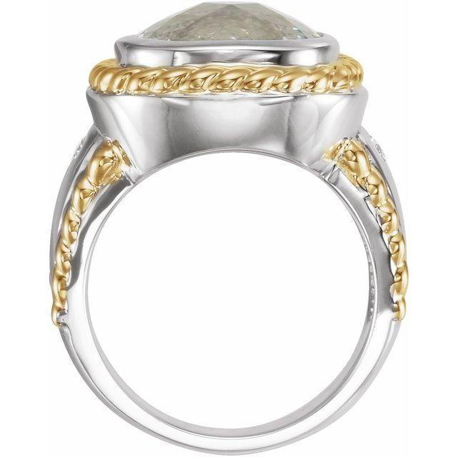 14K White & Yellow Green Quartz & 1/10 CTW Diamond Ring