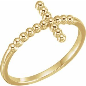 14K Yellow Beaded Sideways Cross Ring