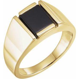 14K Yellow Onyx Bezel-Set Ring