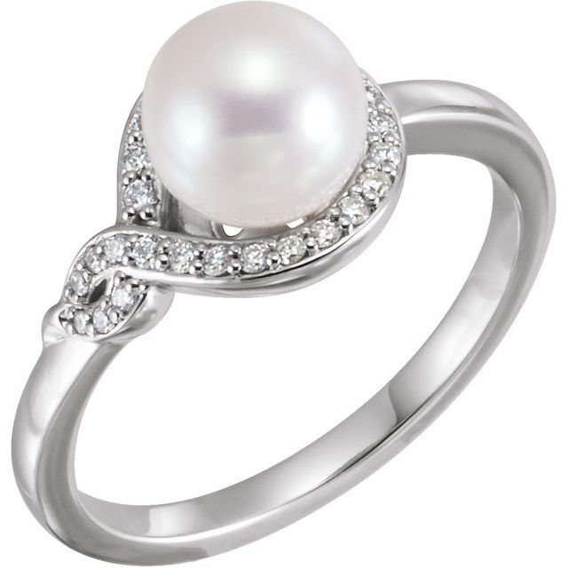 14K White Cultured White Freshwater Pearl & 1/10 CTW Natural Diamond Bypass Ring
