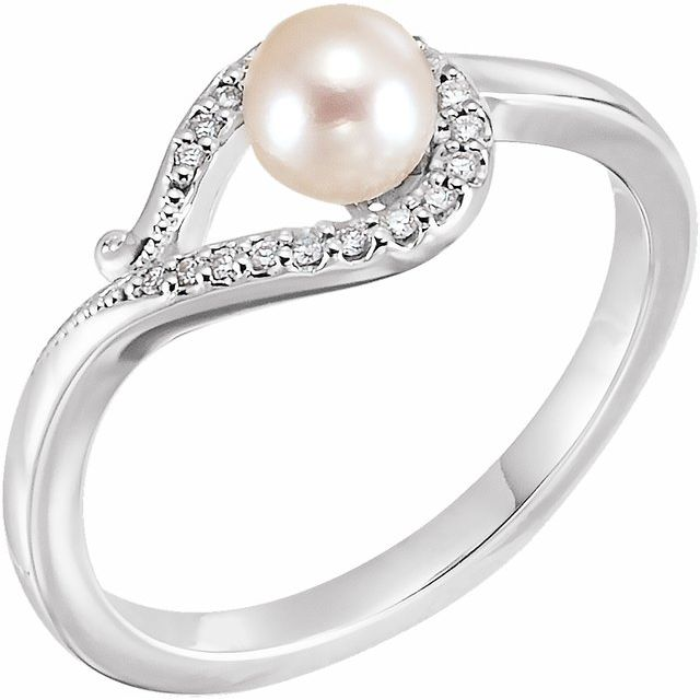 14K White Cultured White Freshwater Pearl & .07 CTW Natural Diamond Bypass Ring