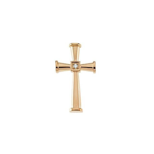14K Yellow .029 CTW Diamond Cross Pendant