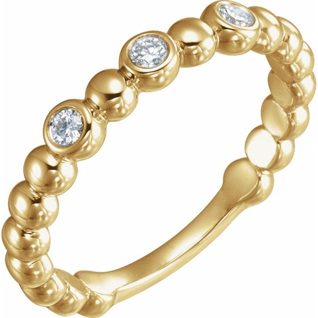14K Yellow 1/8 CTW Diamond Beaded Ring