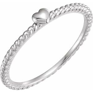 14K White Heart Rope Ring