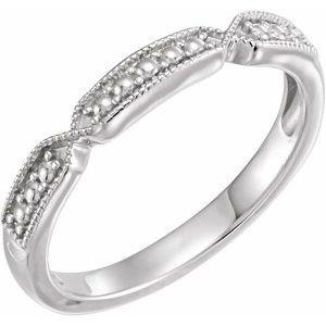 14K White Stackable Beaded Ring