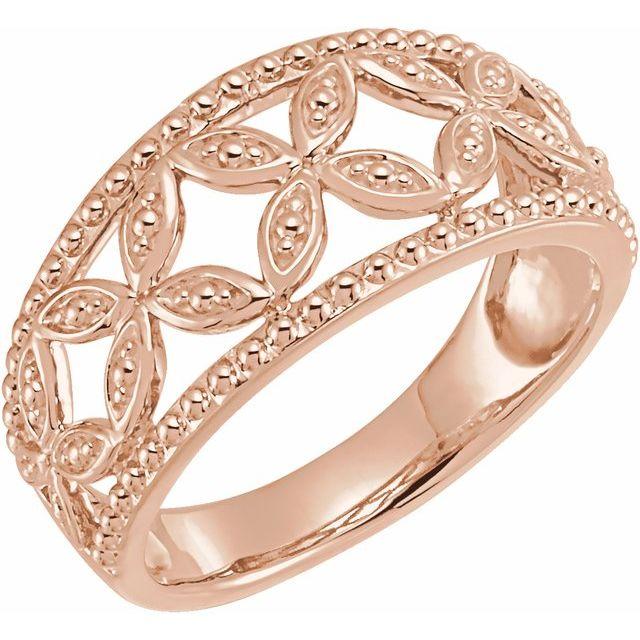 14K Rose Leaf Ring