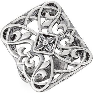 14K White Filigree Ring