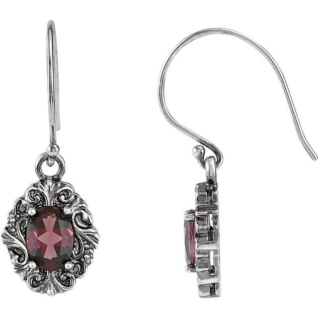 Sterling Silver Rhodolite Garnet Earrings