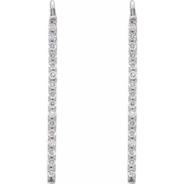 14K White 1/3 CTW Diamond Bar Earrings