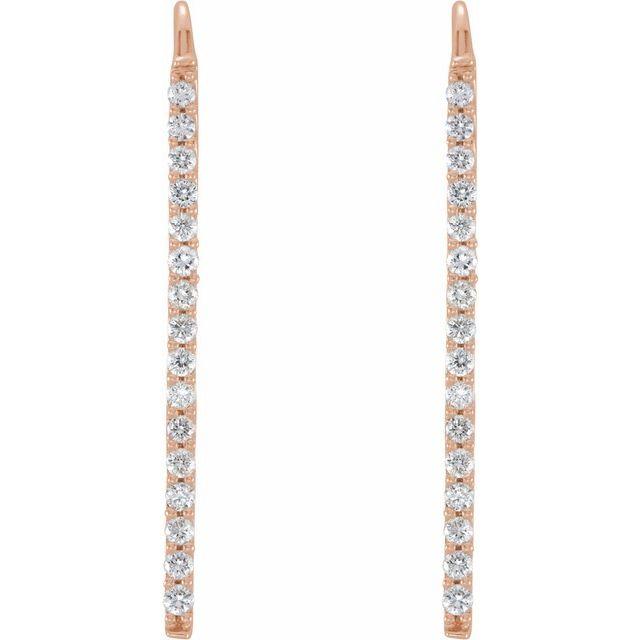 14K Rose 1/3 CTW Diamond Bar Earrings