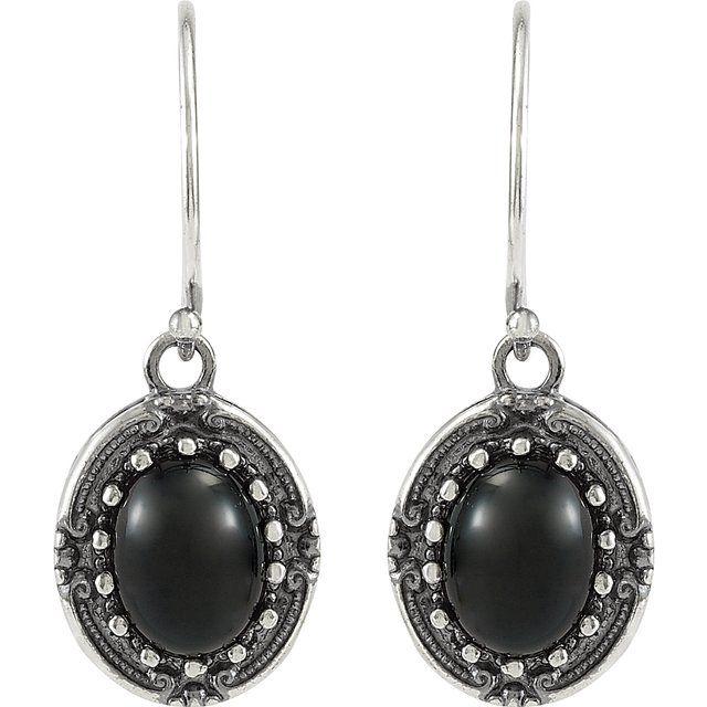 Sterling Silver Onyx Vintage-Inspired Earrings
