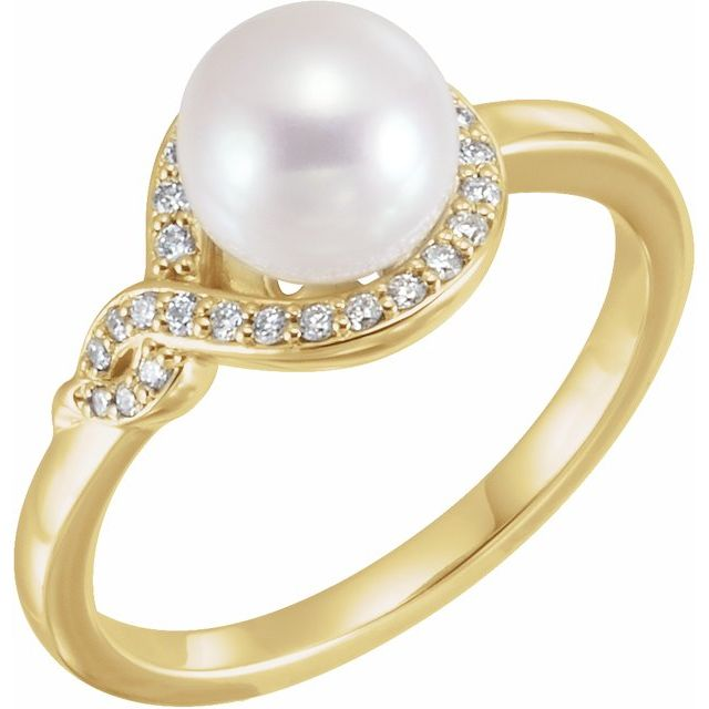 14K Yellow Cultured Freshwater Pearl & 1/10 CTW Diamond Bypass Ring