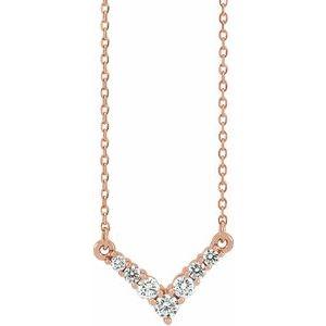 """14K Rose 1/3 CTW Diamond """"V"""" 16-18"""" Necklace"""