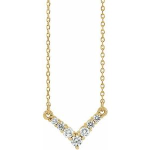 "14K Yellow 1/3 CTW Diamond ""V"" 16-18"" Necklace"