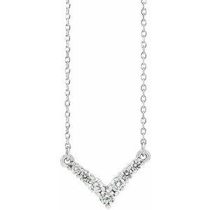 "14K White 1/3 CTW Diamond ""V"" 16-18"" Necklace"