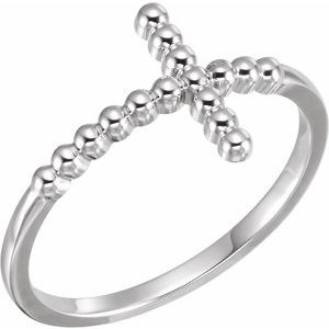 14K White Beaded Sideways Cross Ring