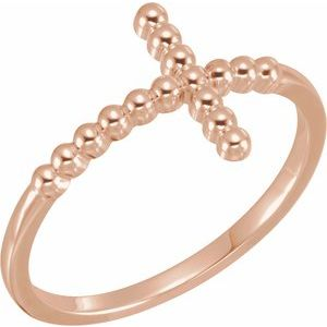 14K Rose Beaded Sideways Cross Ring