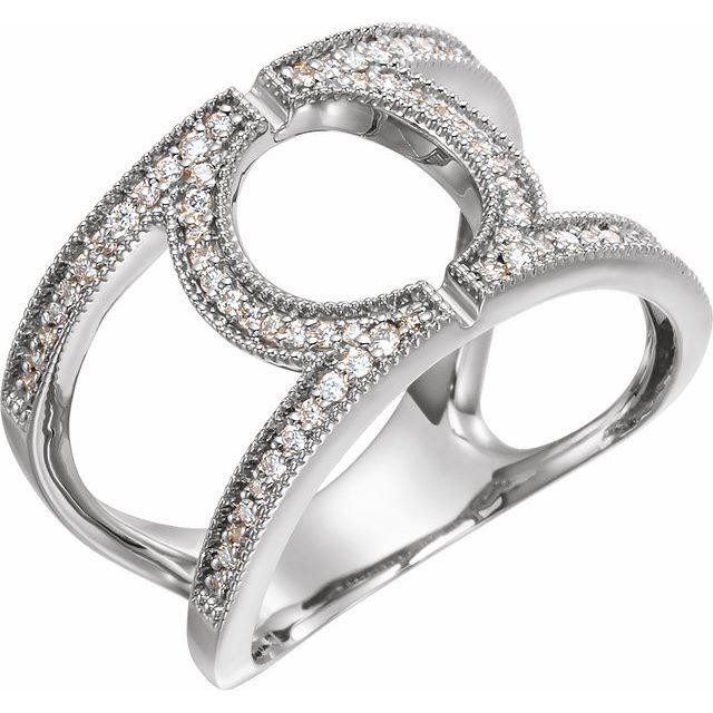 14K White 1/4 CTW Round Geometric Diamond Ring