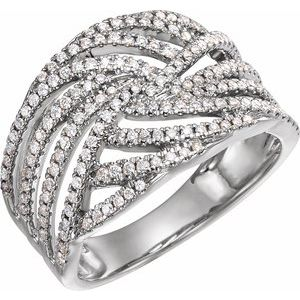 14K White 1/2 CTW Diamond Accented Criss-Cross Ring