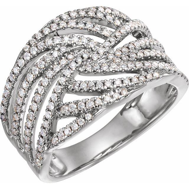 14K White 1/2 CTW Diamond Accented Criss-Cross Ring