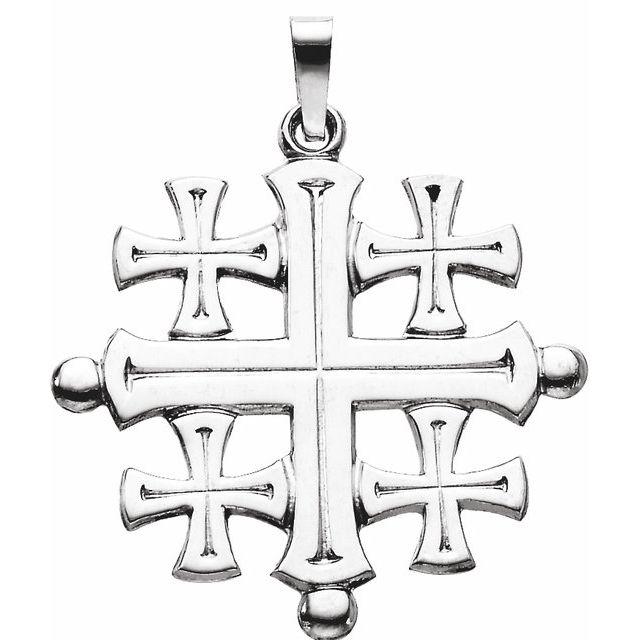 14K White 27x26 mm Jerusalem Cross Pendant