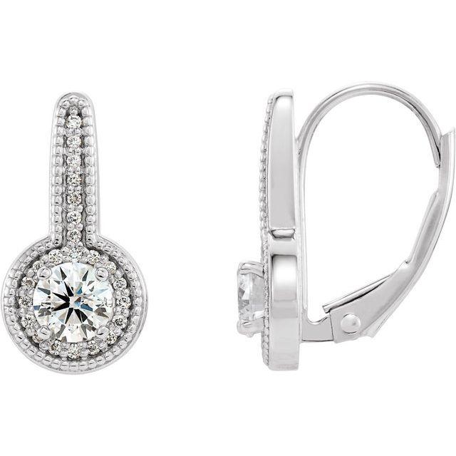 14K White 5/8 CTW Diamond Milgrain Halo-Style Dangle Earrings