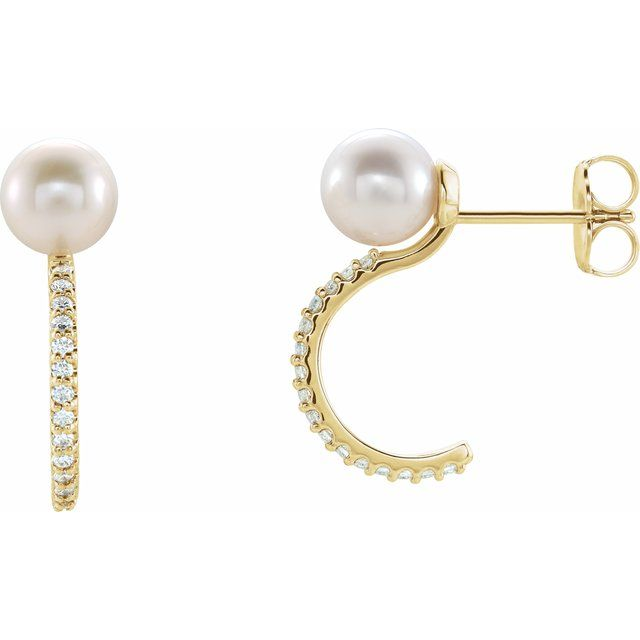 14K Yellow Freshwater Cultured Pearl & 1/6 CTW Diamond Hoop Earrings