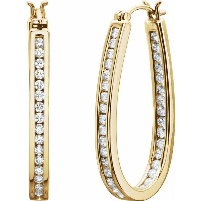 14K Yellow 30 mm 1 CTW Natural Diamond Inside-Outside Hoop Earrings