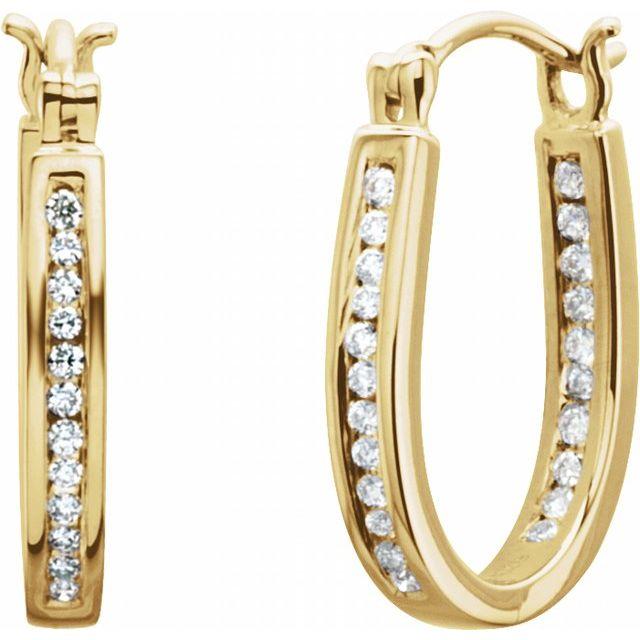 14K Yellow 13 mm 1/4 CTW Natural Diamond Inside-Outside Hoop Earrings