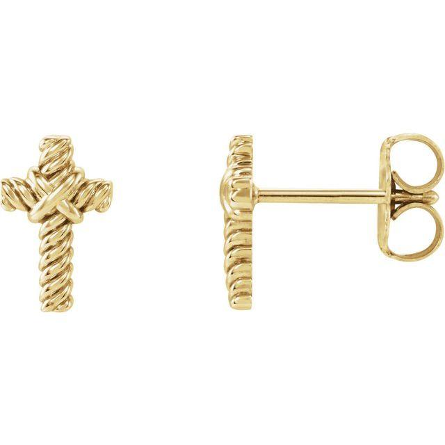 14K Yellow Rope Cross Earrings