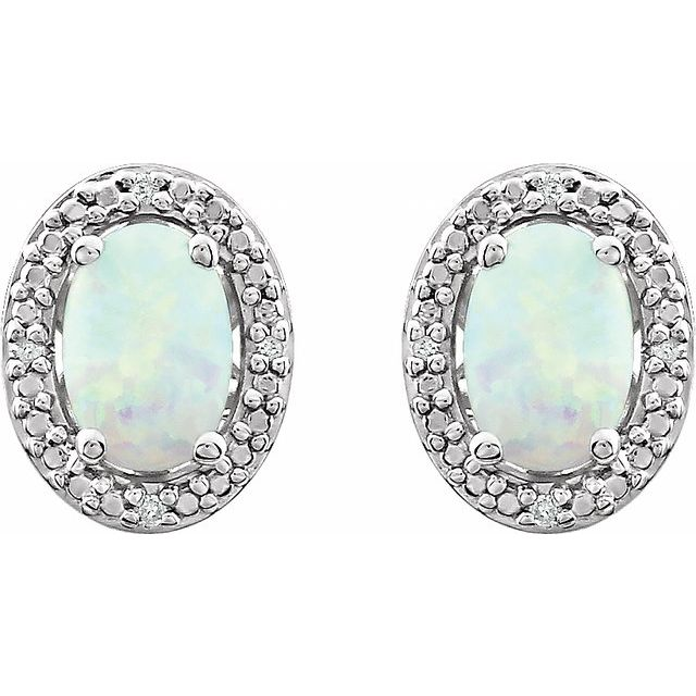 Sterling Silver Created Opal & .025 CTW Diamond Earrings