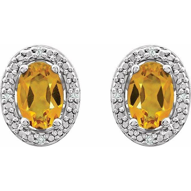 Sterling Silver Citrine & .025 CTW Diamond Earrings