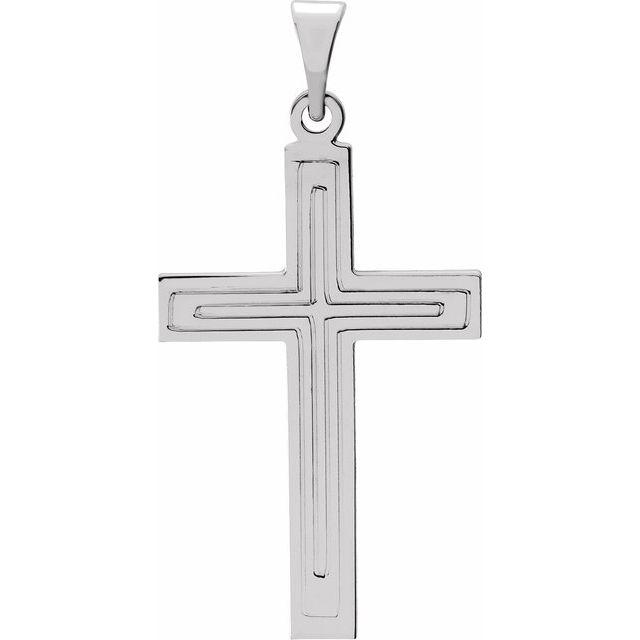 14K White 22x14 mm Cross Pendant