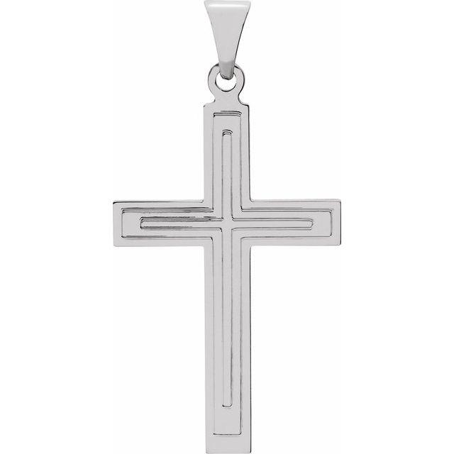 14K White 28x18 mm Cross Pendant